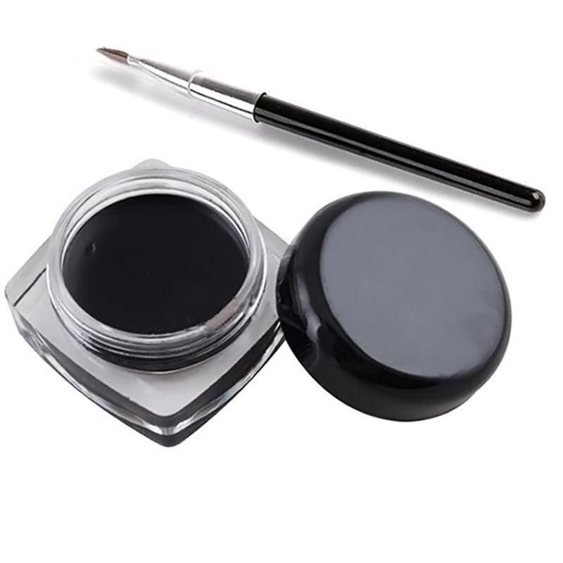 High Quality Popular Waterproof Black Eye Liner Eyeliner Gel Makeup Cream Cosmetic + Brush Makeup Set