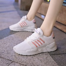 цены Hot Sale Summer Sneakers Casual Shoes Woman Breathable Mesh Lace-up Female Shoes Lightweight Walking Women Flat Shoes D0048