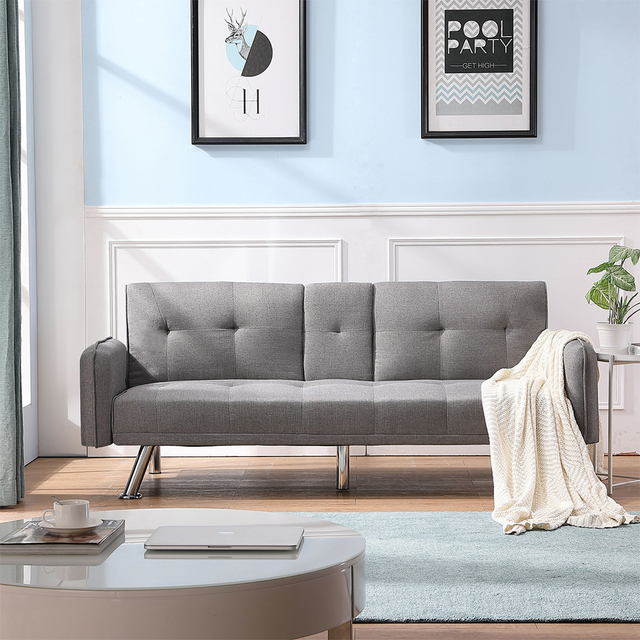 Light Grey Sofa Bed Couch  2