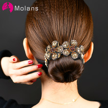 Molans Crystal Rhinestone Hair Claws for Women Flower Hair Clips Barrettes Crab Ponytail Holder Hairpins Bands Hair Accessories