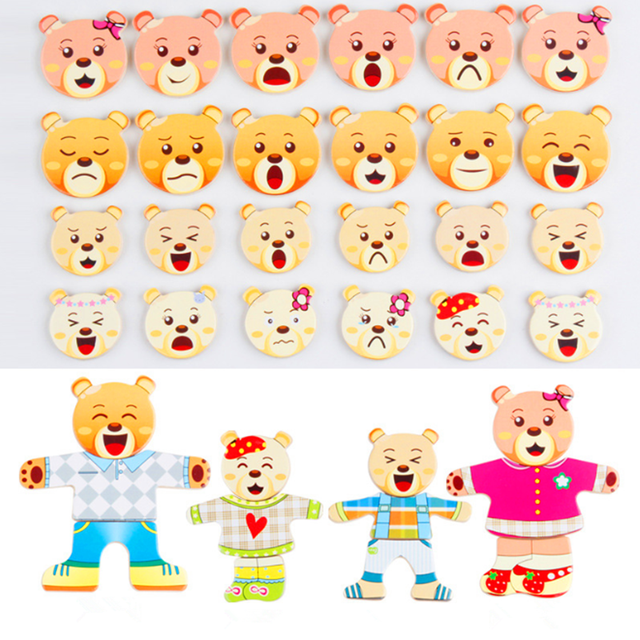 72pcs Cartoon Rabbit Bear Dress Changing Jigsaw Puzzle Wooden Toy Montessori Educational Change Clothes Toys For Children 4