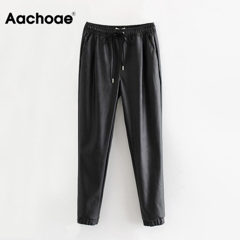 Women Black Chic PU Leather Pants Elastic Waist Long Length Elegant Bottoms Drawstring Tie Pockets Basic Female Trousers XS-XL