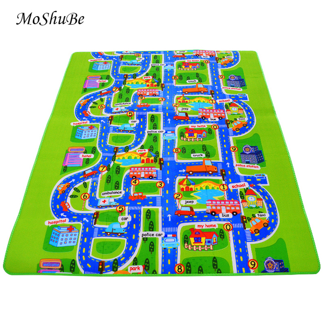 0.5 cm Thick Town City Traffic Baby Crawling mat EVA Foam Climbing Pad  Green Road Childrens Play Mat Carpet for Baby