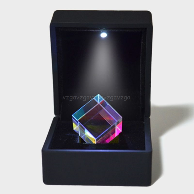 Color-collecting Prism 6-sided Combiner Splitter Cross Dichroic Cube RGB Prism Optical Glass With Light Box Gift N25 19 Dropship