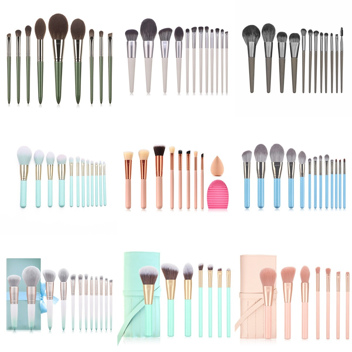 Makeup Brushes Set 14/12//9/7Pcs With Leather Bag Foundation Powder Blush Eyeshadow Sponge Brush Soft Hair Cosmetic Tools Makeup