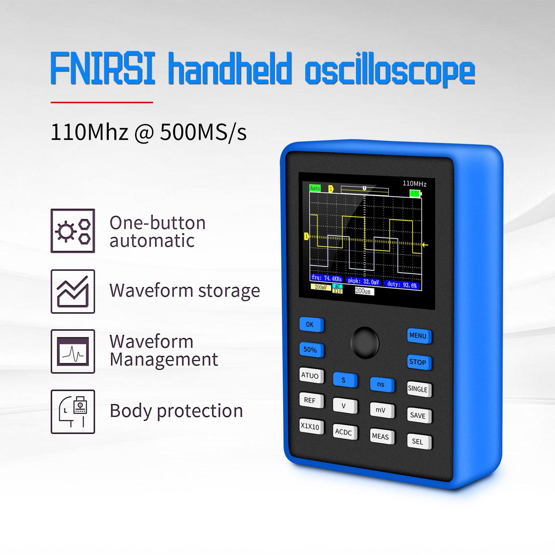 FNIRSI-1C15 osciloscópio digital profissional 500 ms/s taxa de amostragem 110 mhz suporte de largura de banda analógica armazenamento de forma de onda