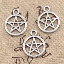 20 pçs encantos estrela pentagrama 24x20mm antigo prata bronze cor pingentes diy artesanato fazendo descobertas artesanal tibetano jóias
