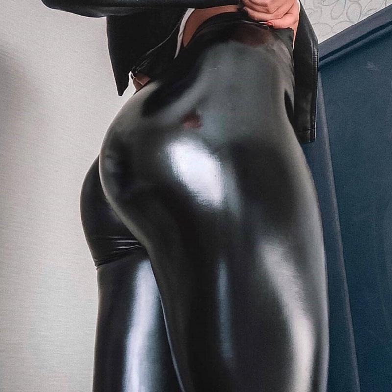 NORMOV kadın tayt PU deri pantolon yüksek bel Skinny Push Up tayt seksi elastik pantolon streç artı boyutu Jeggings kız