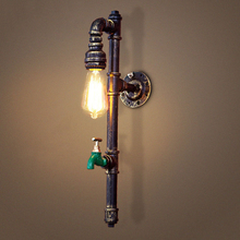 Vintage industry steam punk lamp loft wall lamp restaurant bar club porch corridor cafe light sconce water pipe edison E27 bra nordic style industrial water pipe light edison bulb vintage aisle wall lamp home decor for cafe bar hall coffee shop club store