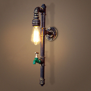 Vintage industry steam punk lamp loft wall lamp restaurant bar club porch corridor cafe light sconce water pipe edison E27 bra(China)