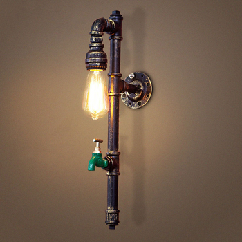 Vintage industry steam punk lamp loft wall lamp restaurant bar club porch corridor cafe light sconce water pipe edison E27 bra loft retro lamp vintage lifting pulley wall lamp dining room restaurant aisle corridor pub cafe wall lamp bra wall sconce