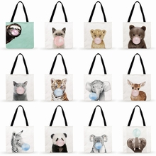 Beach-Bags Foldable Animals-Print Casual Women for Tote Ladies Shoulder-Bag Blowing Nordic