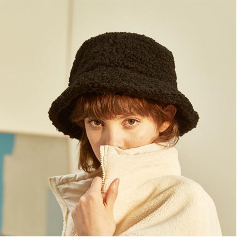Lamb Wool Women Bucket Hat Solid Color Winter Autumn Fisherman's Hats for Ladies Keep Warm Casual Cap Female Flat Top Hat