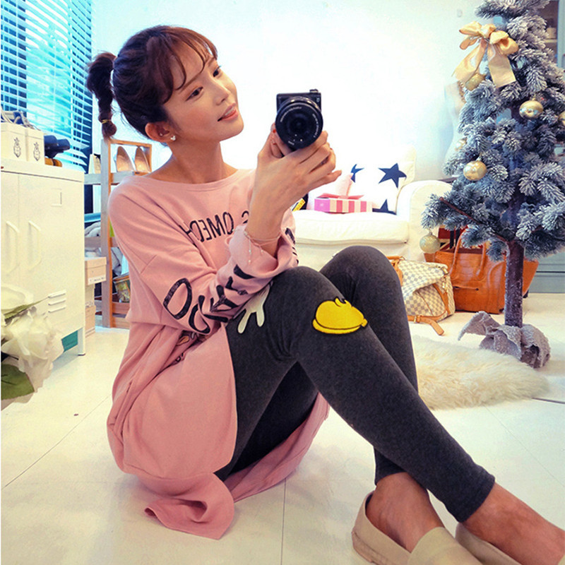 Spring And Autumn Long Sleeve Pajamas Women's Cartoon Little Duck Homewear Set Knitted Casual Cute Slim Fit Women's Two-Piece Se