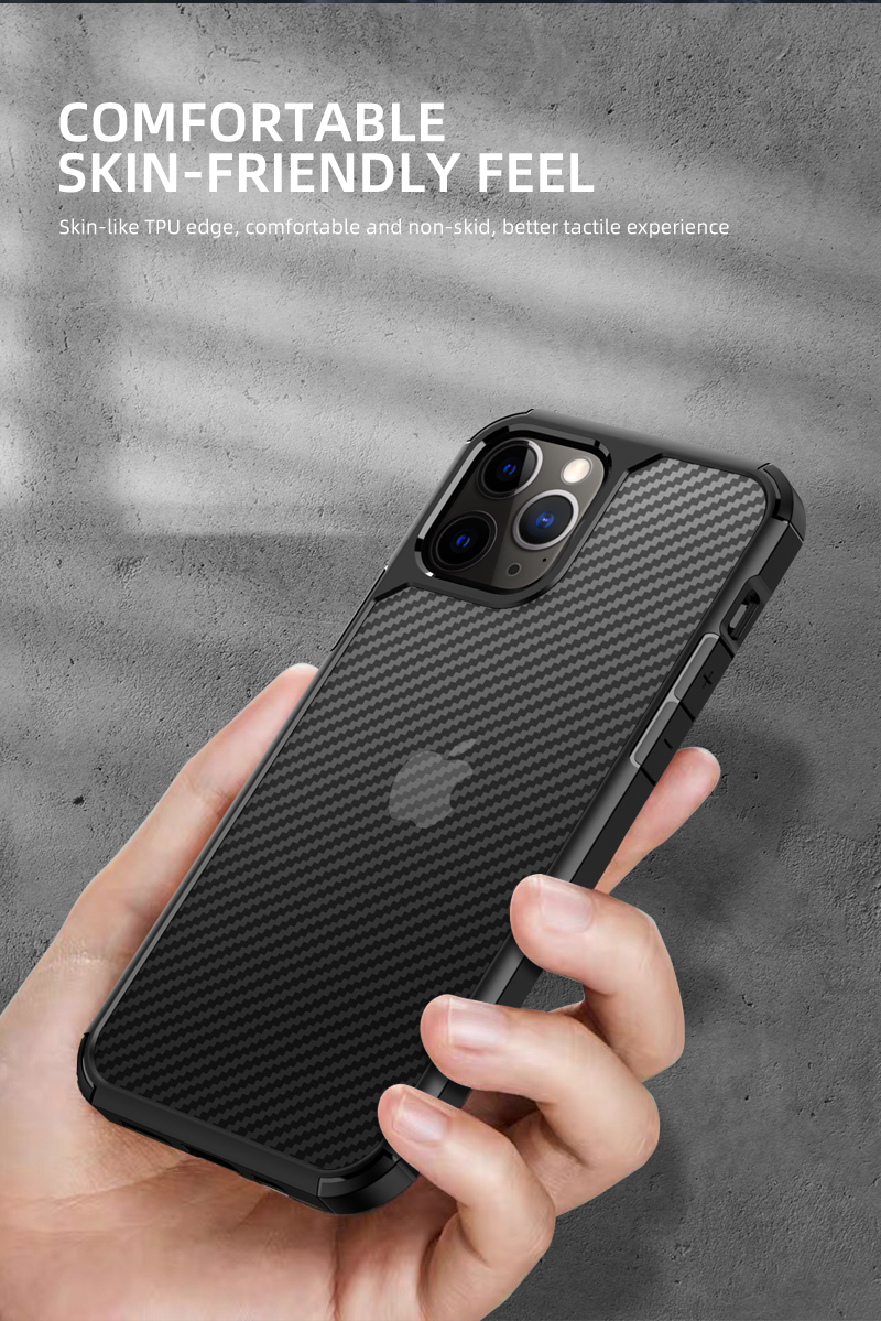 Clear Crystal Carbon Fiber Texture Durable Hybrid Soft TPU Bumper + Hard PC Back Cover Case for iPhone 12 Pro Max 3