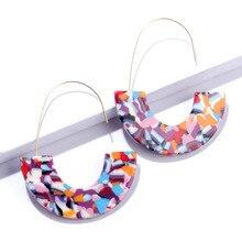 2020 Fashion Big Colorful Boho Acrylic Earrings for Women Hook Crescent Moon Long Drop Earrings Multi Color Semicircle Earrings