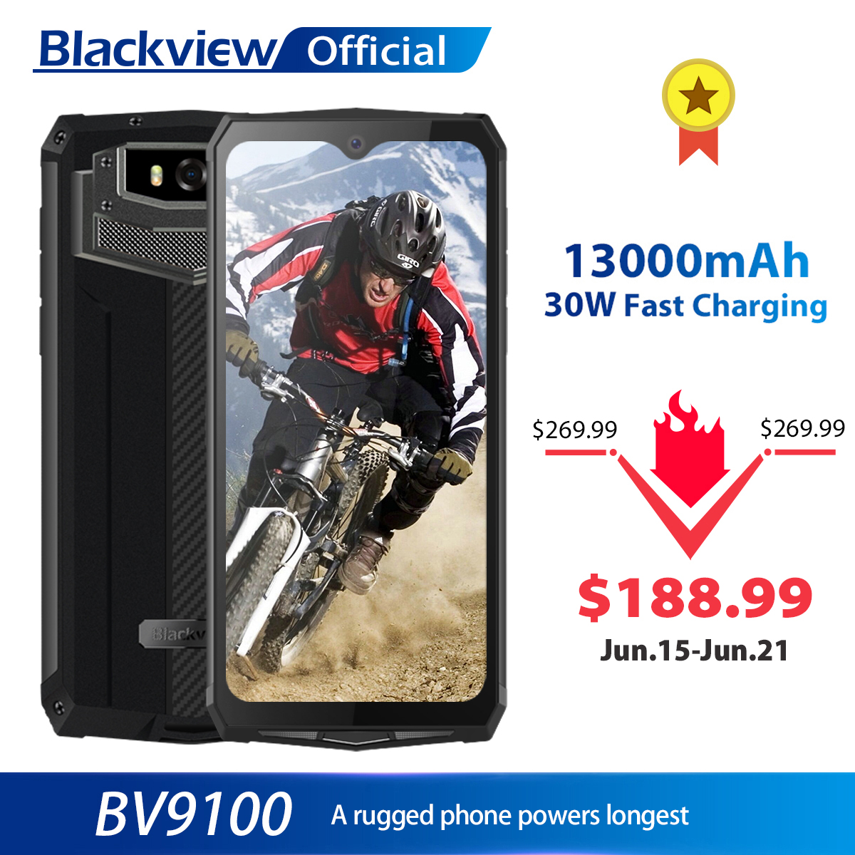 Blackview BV9100 IP68 Waterproof Cellphone 13000mAH 30W fast charging 4G Mobile Phone MTK6765 4GB+64GB 16.0MP Rugged Smartphone|Cellphones|   - AliExpress