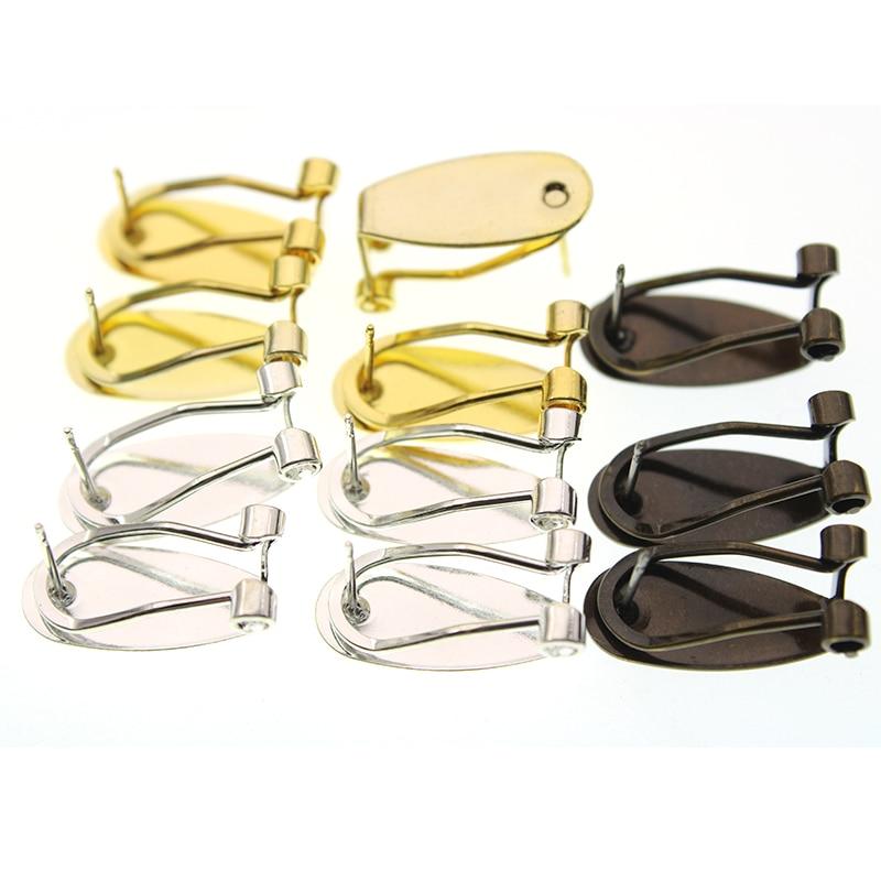 10pcs 9x20mm Original Brass Gold Silver Stud Earrings Hook Ear Clip Base Setting For Ear Stud DIY Jewelry Making Accessories
