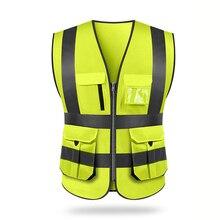 Colete reflexivo ao ar livre equitação segurança saneamento trabalhadores vestuário tráfego carro coletes alta visibilidade fluorescente amarelo casaco