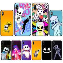 DJ Marshmello Black TPU Soft Phone Cover For iphone 4 4s 5 5s 5c se 6 6s 7 8 plus x xs xr 11 pro max nand pro box ip nand pro for iphone 4 4s 5 5c 5s 6 6p supported for ipad 2 3 4 5 6 supported