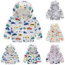 New Baby Coat Toddler Kids Summer Sunscreen Jackets Printing Hooded Windbreak Outerwear Boys Girls Zipper Coats