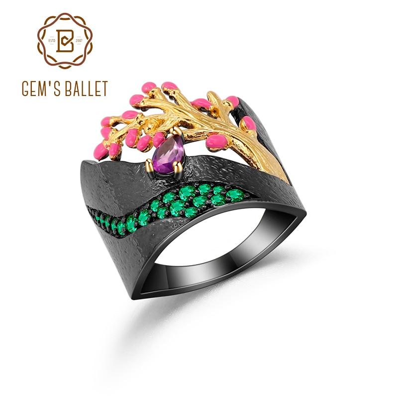 GEM'S BALLET 925 Sterling Silver Enamel Craft Ring Golden Tree Flowers Stream Natural Amethyst Ring for Women Mom Fine Jewelry