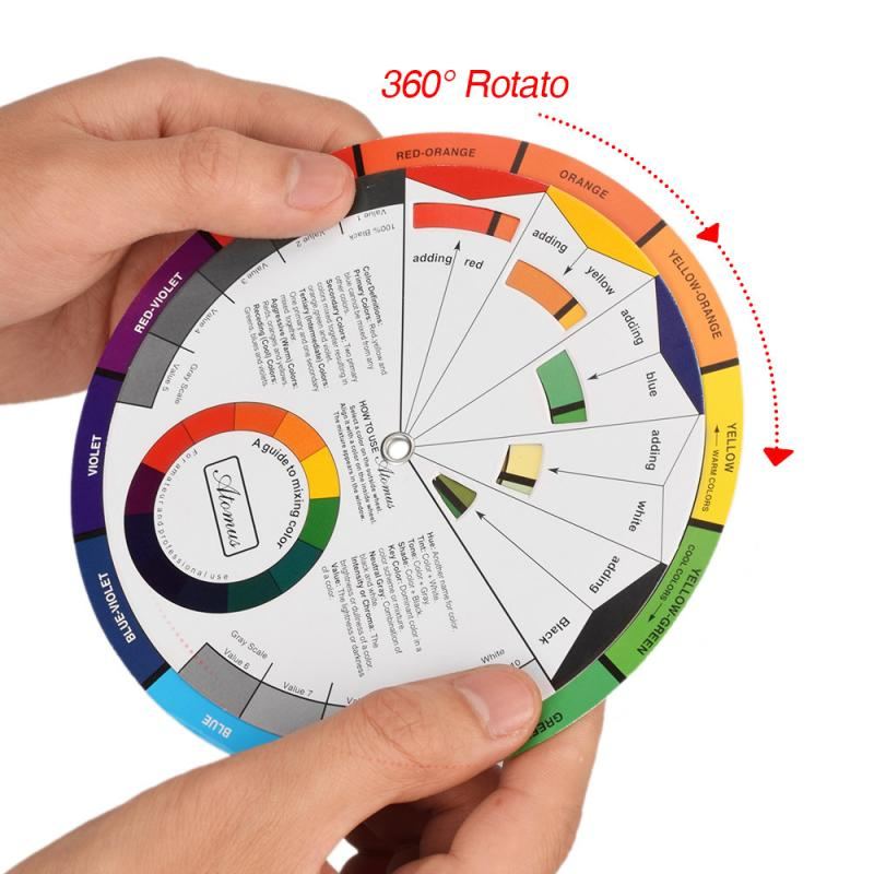 1PCS Portable Color Wheel Mixing Guide For Tattoo Makeup Hobby Painting Supply Mix Guide Round The Central Circle Rotates