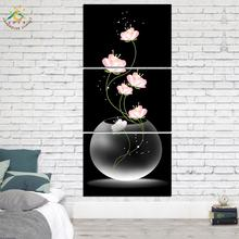 цена на 3 Pieces/set Modern Wall Printed Canvas Paintings Flowers Porch Vertical Decorative Picture Wall Art Home Decoration Unframed