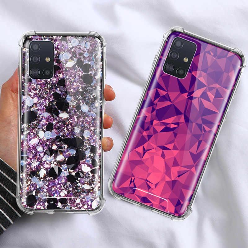 Pha Lê Thoáng Mát Kim Cương Ốp Lưng Dành Cho Samsung Galaxy Samsung Galaxy A71 A51 M31 A41 A31 A21 A11 A01 M51 M21 M11 Túi Khí Chống nhà Ở Vỏ Điện Thoại