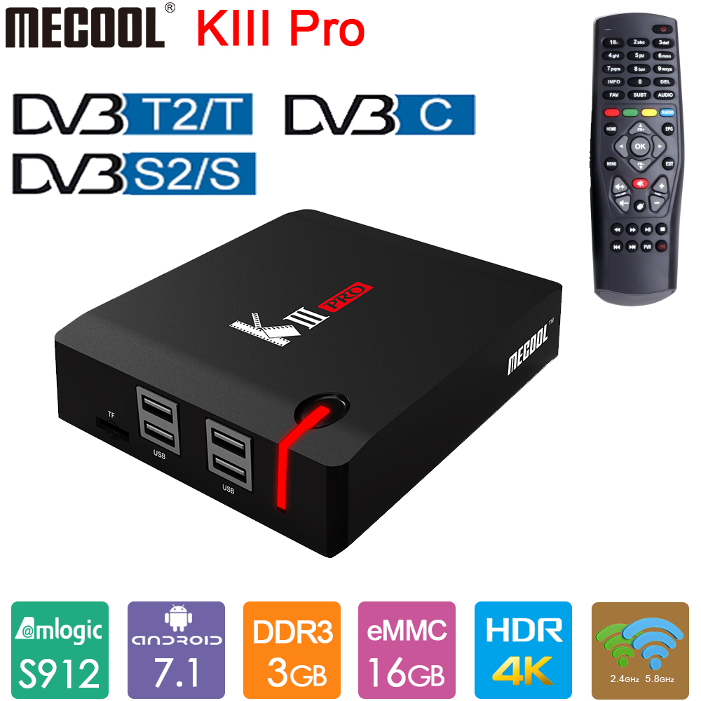 MECOOL KIII PRO <font><b>Android</b></font> TV Box <font><b>DVB</b></font>-<font><b>T2</b></font> <font><b>DVB</b></font>-S2 Smart TV Box Amlogic S912 <font><b>Octa</b></font> Core 3GB DDR3 16GB 4K 2,4G 5G WiFi 1000M LAN BT4.0 image