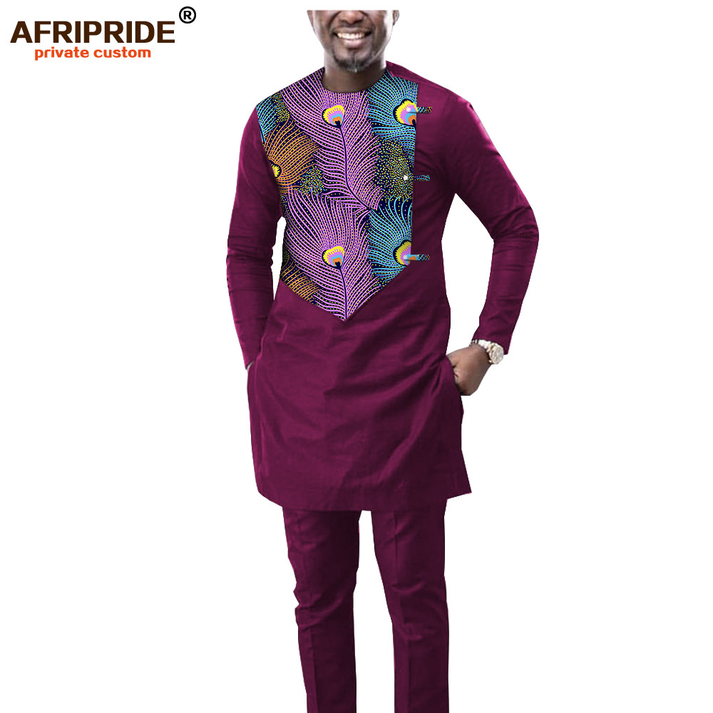 2019 Men`s 2 Piece Set African Dashiki Print Coats Jacket And Ankara Pants Traditional Wear Pockets Tracksuit AFRIPRIDE A1916039