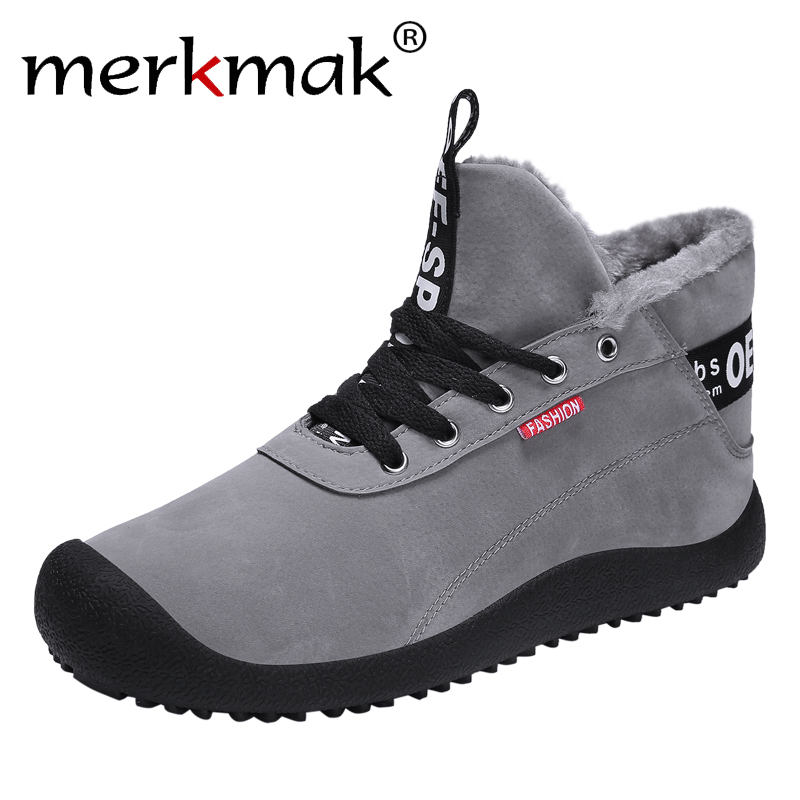 Merkmak New Winter Boots Fashion Lace-up Warm Snow Boots Plus Velvet High Top Men Ankle Booties Comfortable Big Size Casual Shoe