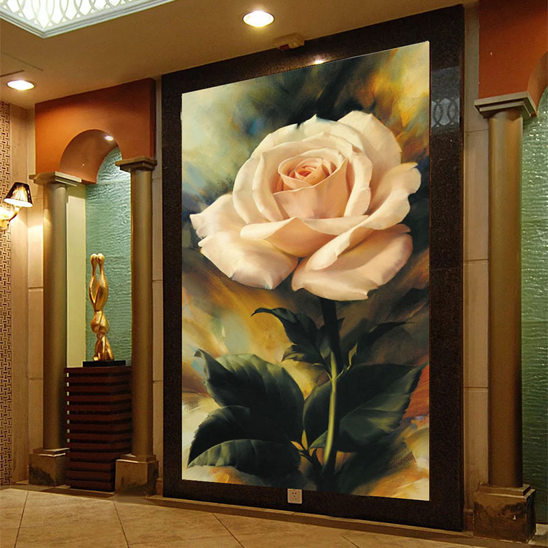 Custom Mural Wallpaper 3D Rose Flowers Oil Painting Fresco Living Room Bedroom Hotel Entrance Backdrop Wall Papers 3D Home Decor
