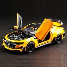 Quente liga diecast modelo de carro 1:32, bumblebee, crianças, brinquedos de metal, chevrolet camaro, puxar para trás, rodas, aniversário, presentes de natal