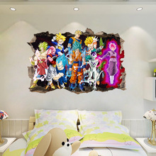 3D view Break Wall wall Stickers Dragon Ball Z Goku Cartoon Kids Anime Vinyl Decal Decor room decor boy bedroom a ccessories