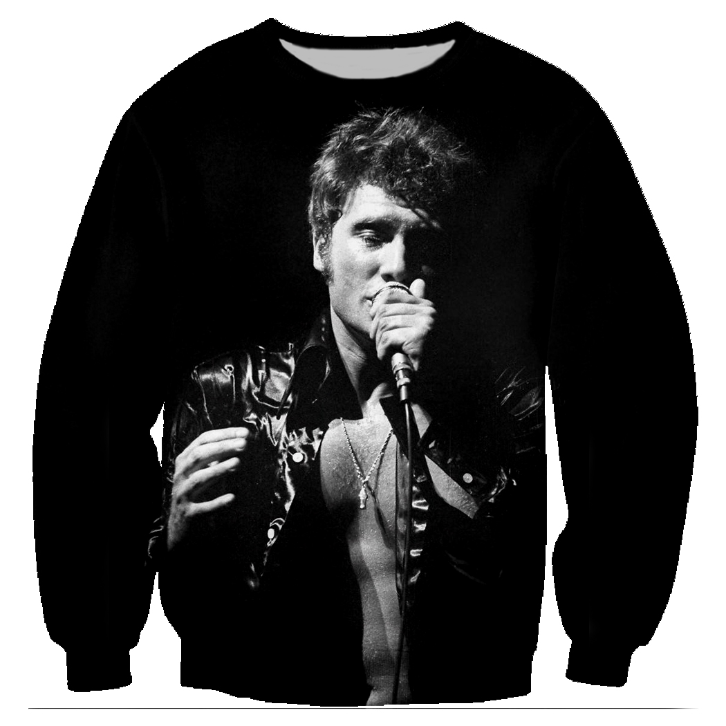 Impressão 3d sweatshirts johnny hallyday harajuku homens