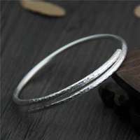 925 Sterling Silver Thai Old Silver Craftsman Handcrafted Silver Bracelet Ms. Simple Opening Adjustable Fine Ring Accessories