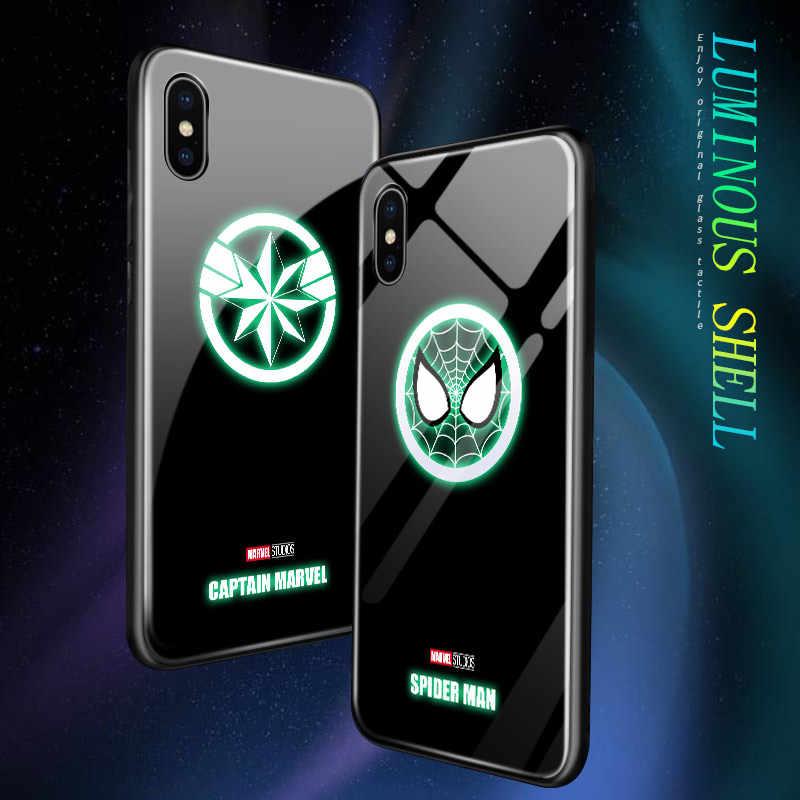 Untuk Samsung A50 A60 A70 A80 A90 A30S A50S Bercahaya Marvel Avenger Superhero Logo Glossy Case Spiderman Kaca Back Cover casing