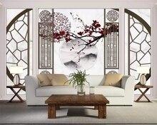 3D роспись Китайская Цветущая Слива птица благоприятный камень узор мозаика фон для телевизора гостиная спальня самоклеящиеся обои
