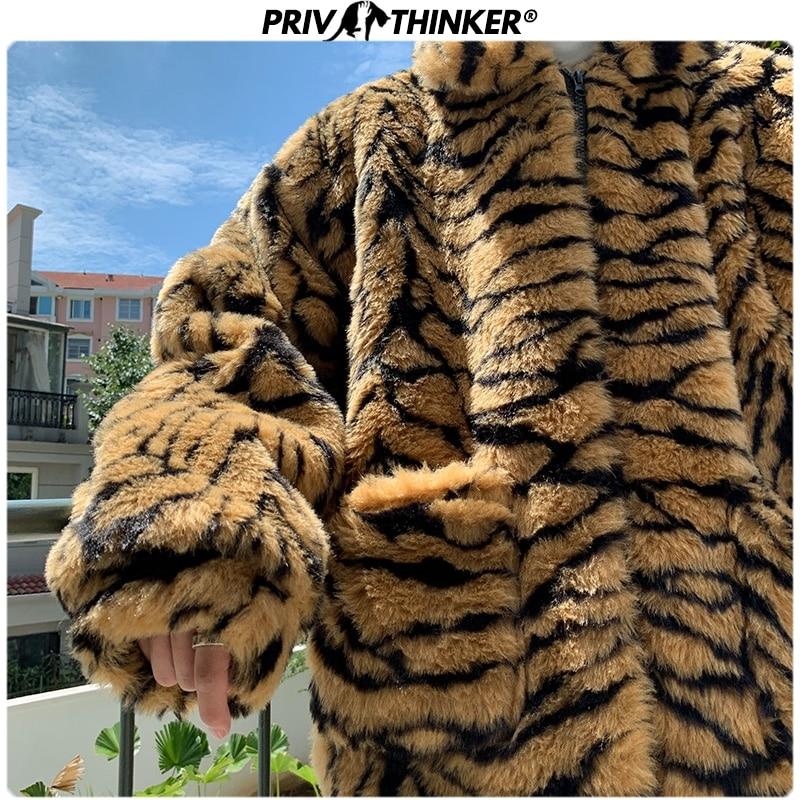 Privathinker Men Tiger Pattern Faux Fur Parkas Coats Male Oversize Hip Hop Streerwear Coat Male Warm Thicken Winter Jackets 2019