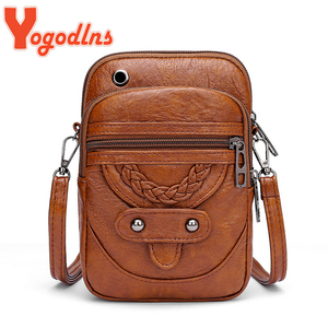 Yogodlns Multi-Functional Soft PU Leather Small Shoulder Bag For Women Vintage Crossbody Bag Cash Purse Cell phone Bag