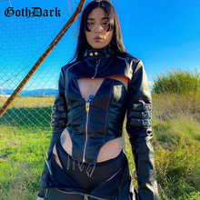 Gothic Corset Camis Crop-Tops Grunge-Style Faux-Leather Patchwork Backless Dark-Punk