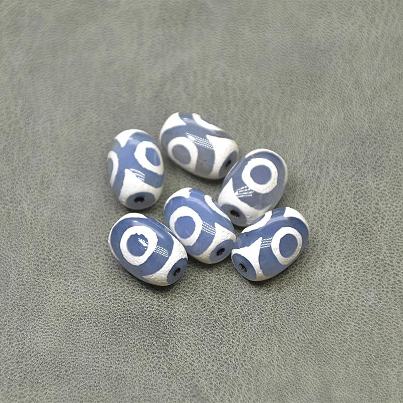 New Blue 15*21mm Agate Stone Blue And White 3 Eyes DZI Men&women Amulet Jewelry Bracelet Necklace DIY Wholesale Free Shipping
