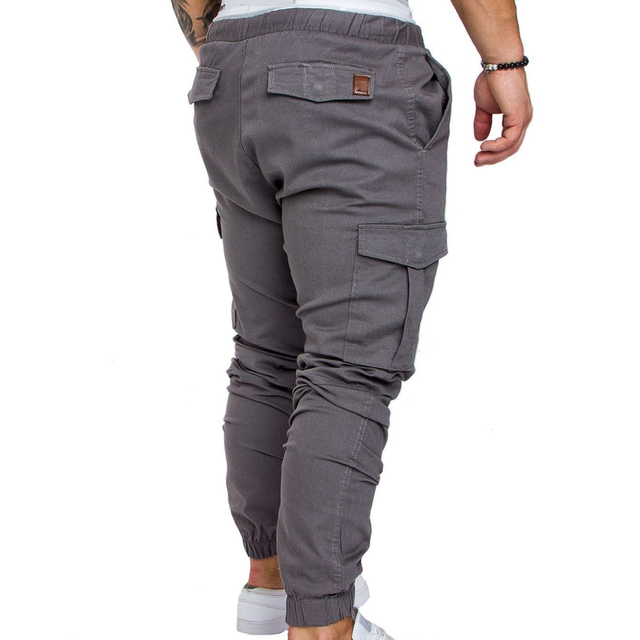 Pantalones informales con bolsillos para hombre, cordón de cintura, tobilleros, ajustados, Cargo, Color sólido 5