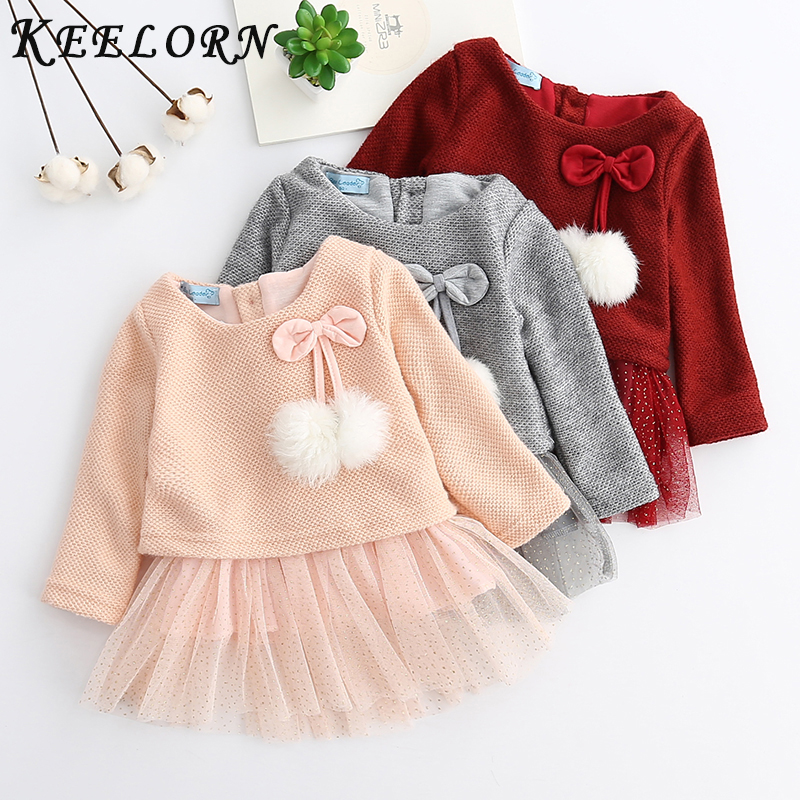 Keelorn Baby Girl Dress Princess 2019 New Spring Autumn Baby Clothes Long Sleeve Fake 2 Piece Party Dress Baby Girl Clothes Kids