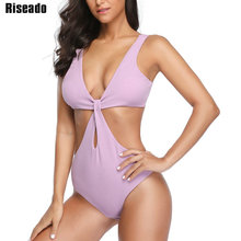Riseado Sexy Monokini One Piece Swimsuit Women New Plunging Swimwear Solid Push Up Bathing Suits Summer Beach Wear