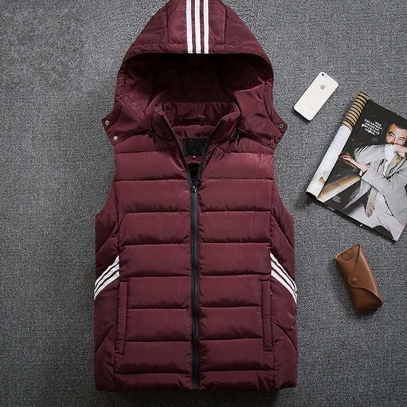 Musim Gugur Musim Dingin Pria Tebal Kapas Rompi Plus Ukuran 8XL Longgar Ritsleting Fashion Berkerudung Rompi Tanpa Lengan Kasual Jaket Biru/Merah /Hitam/Abu-abu