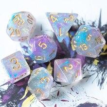 7 Teile/satz DND Würfel Rosa/Cyan Lila/Blau Swirl D & D Würfel D4 D6 D8 D10 D % D12 D20 Polyhedral Spiele Würfel Set für Tisch Spiele MTG RPG