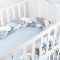 2M 200CM Length Newborn Baby Bed Bumper Pure Weaving Plush Knot Crib Bumper Kids Bed Baby Cot Protector Toddler Child Room Decor
