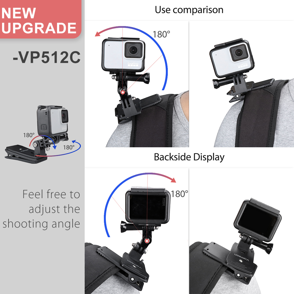 Image 3 - Vamson for Go Pro Accessories 360 Degree Rotation Clip For GoPro Hero 7 6 5 4 3+ 3 2 1 for Xiaomi yi for SJCAM for SJ4000 VP512-in Sports Camcorder Cases from Consumer Electronics